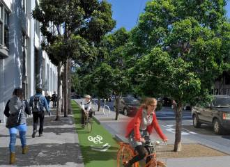 Rendition of what a cycle track might look like.,